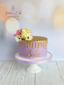 Gold and lavender Drip Cake