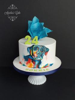 Labrador hand painted cake