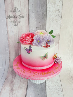Flowers and buttterflies cake