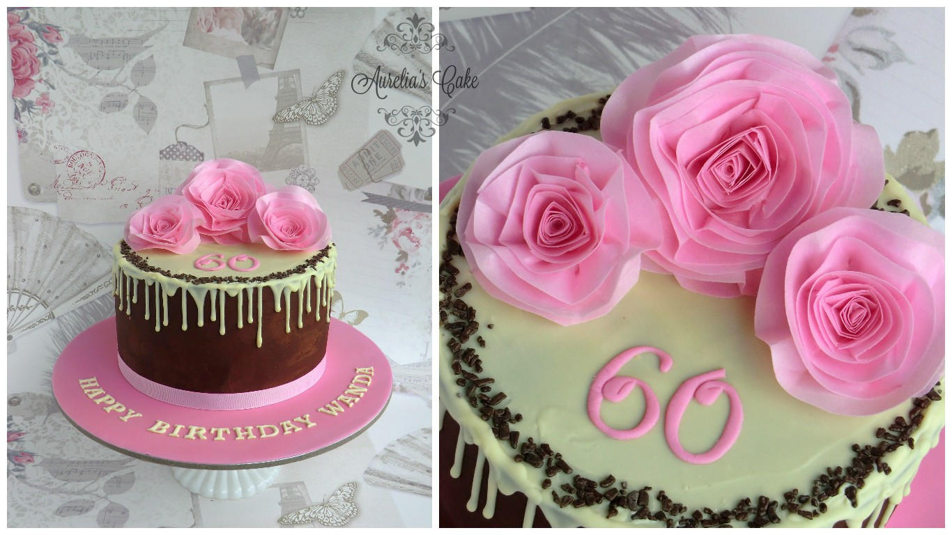 Wafer paper pink roses cake.