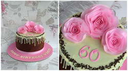 Wafer paper pink roses cake.