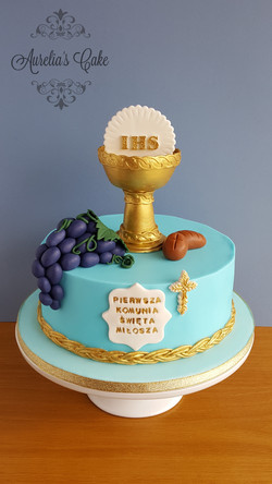 First communion cake in blue.