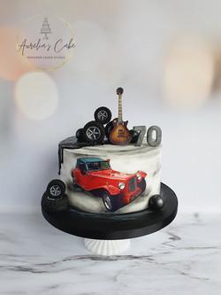 Vintage Car_Guitar Cake