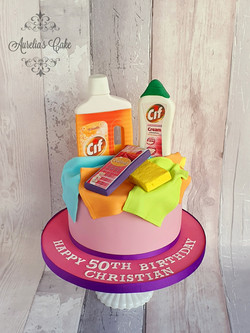 Cleaninh themed cake