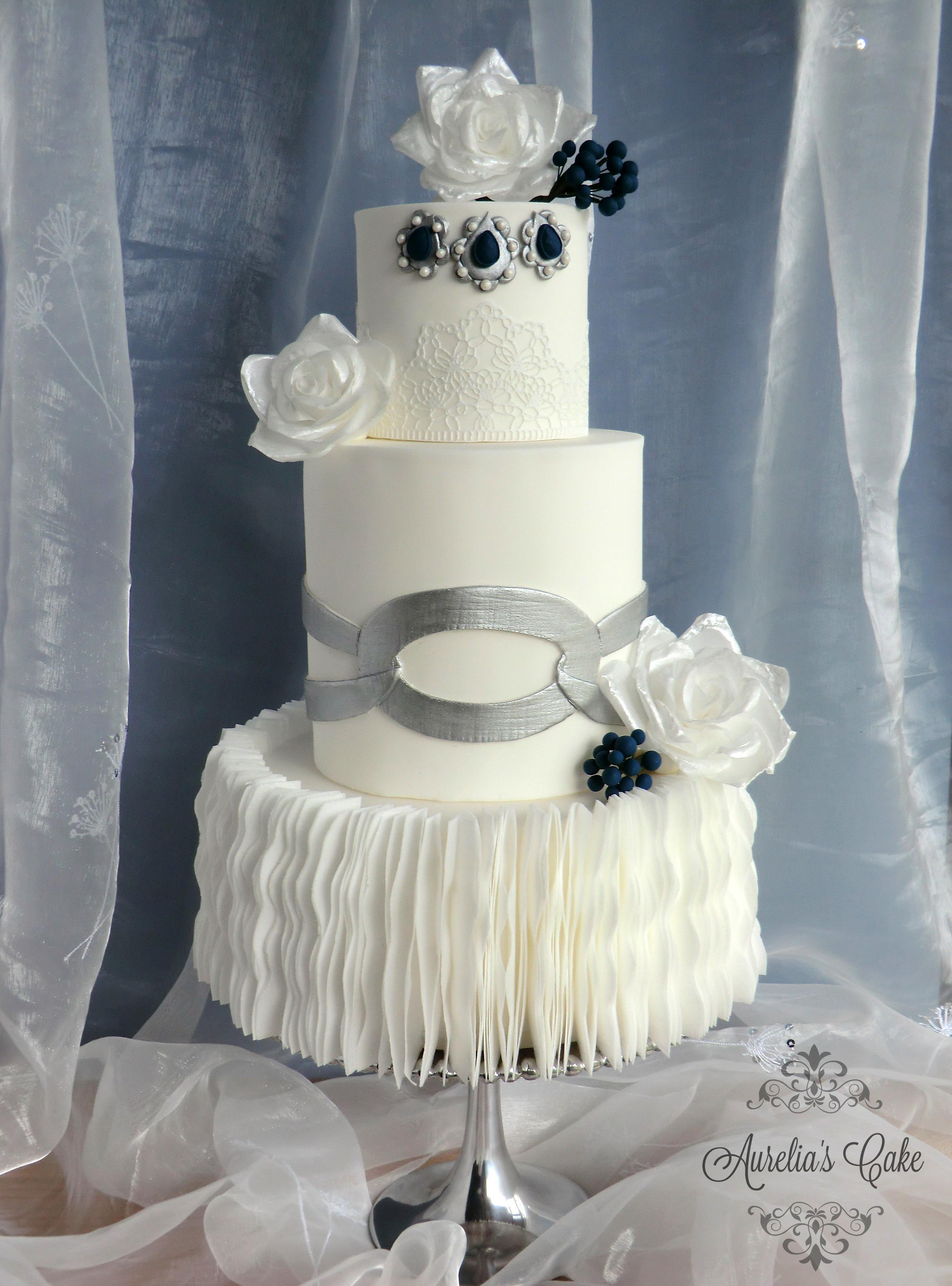 Ruffles and roses wedding cake.