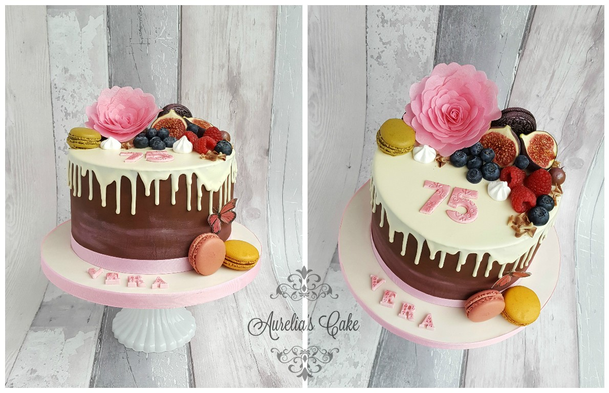 75th birthday drip cake