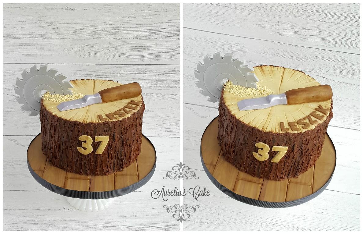Stump cake for carpenter.