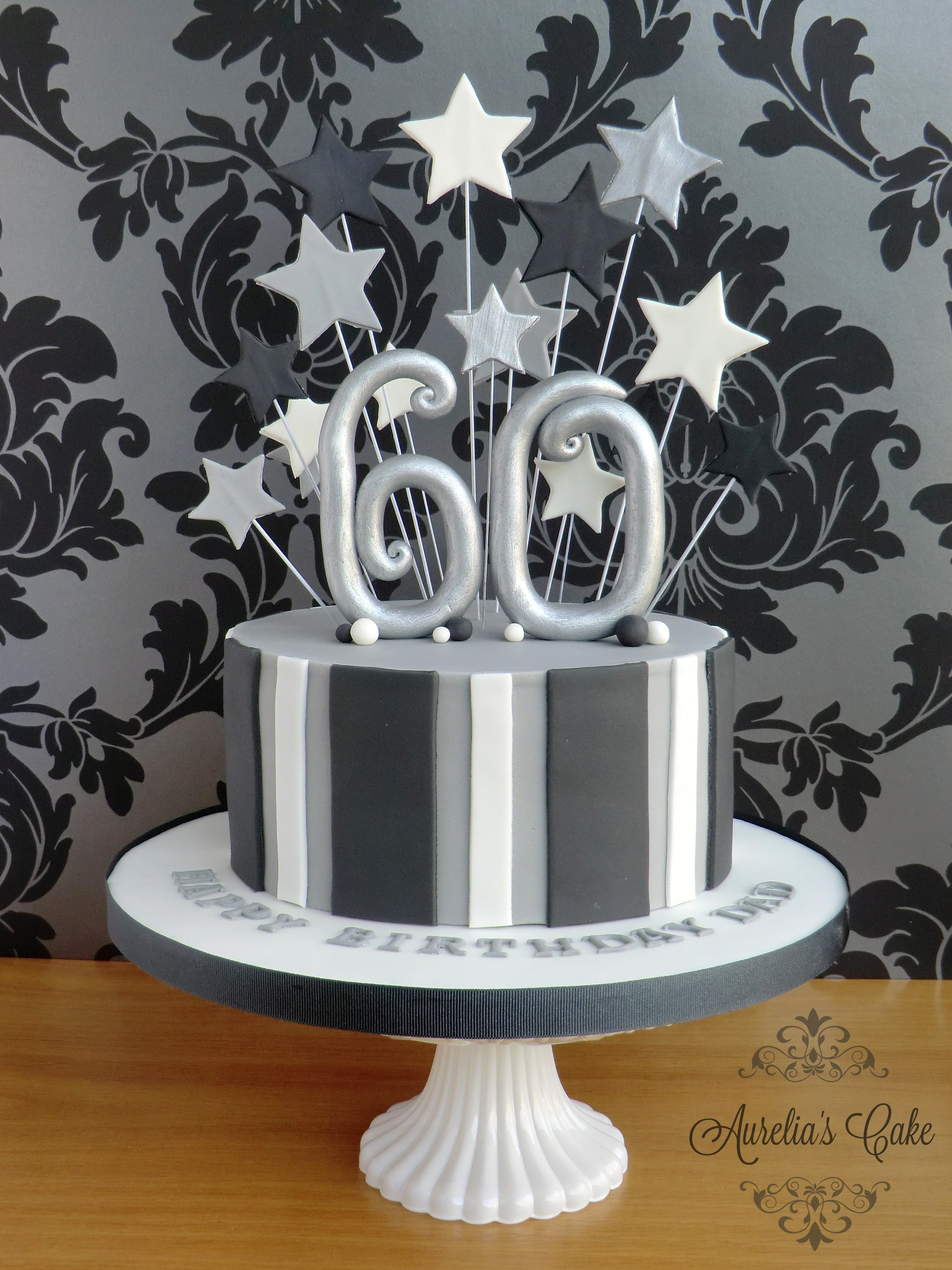 Black and silver 60th birthday cake.