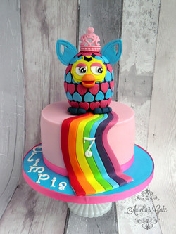 Rainbow Furby cake.