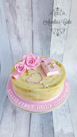 First communion white ganache cake.