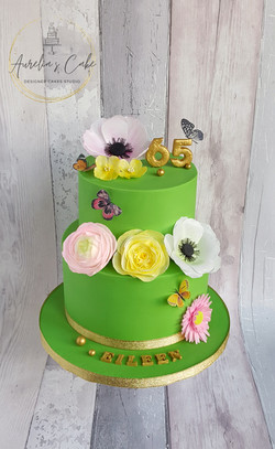 Floral Green Cake_