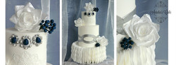Wafer paper ruffles and roses cake.