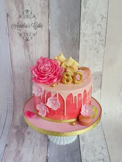 Pnk_Flowers Drip Cake