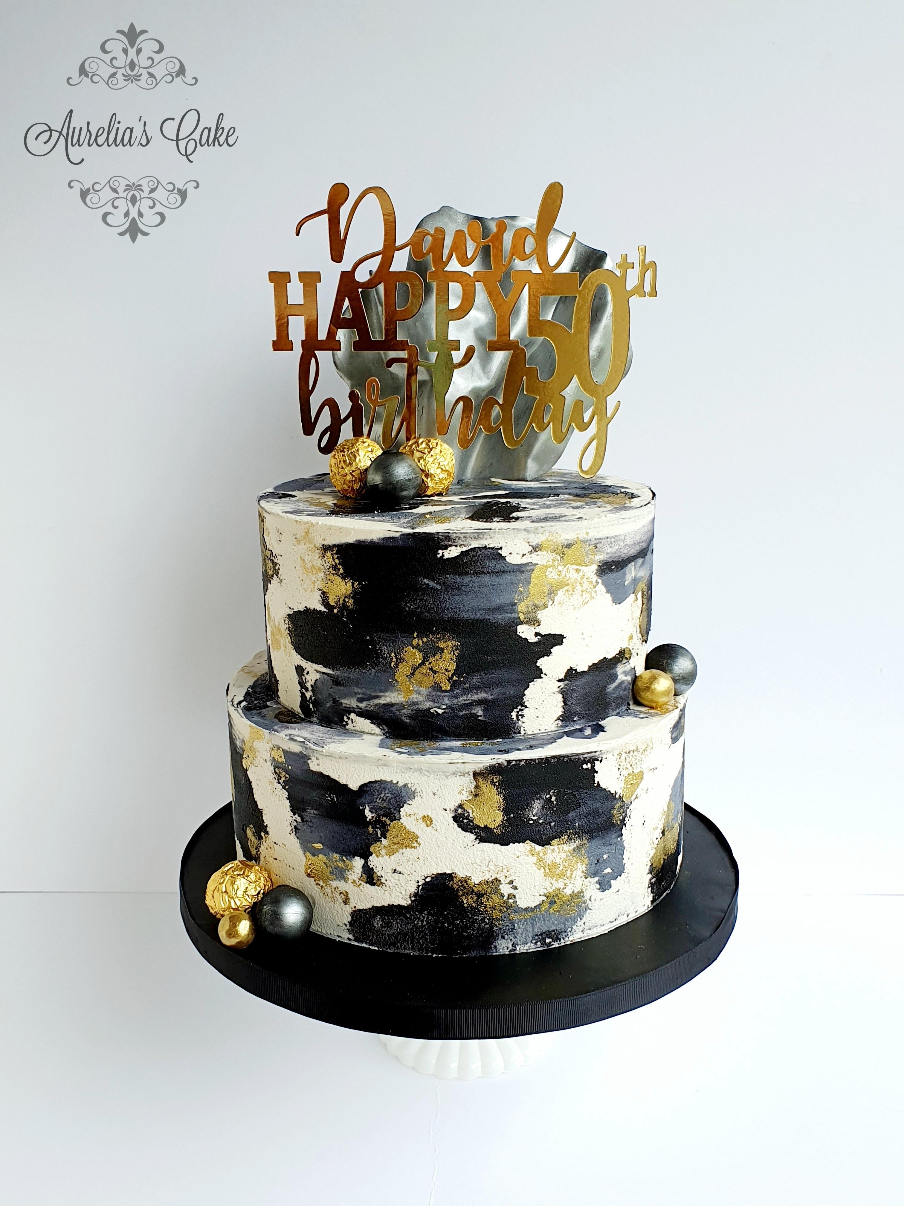 White_Black_Gold Cake