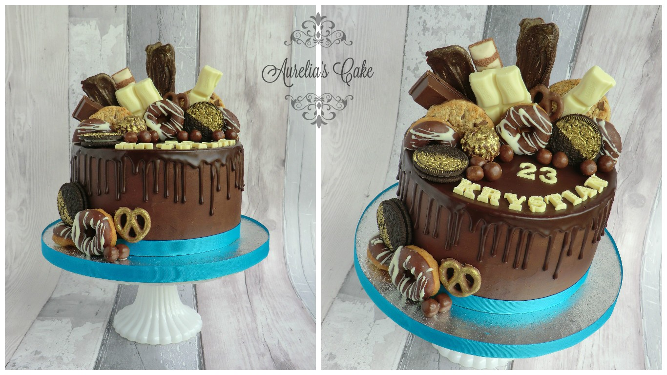 Drip cake loaded with sweets.