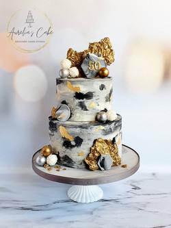 Marble_Geometric_Gold Birthday Cake