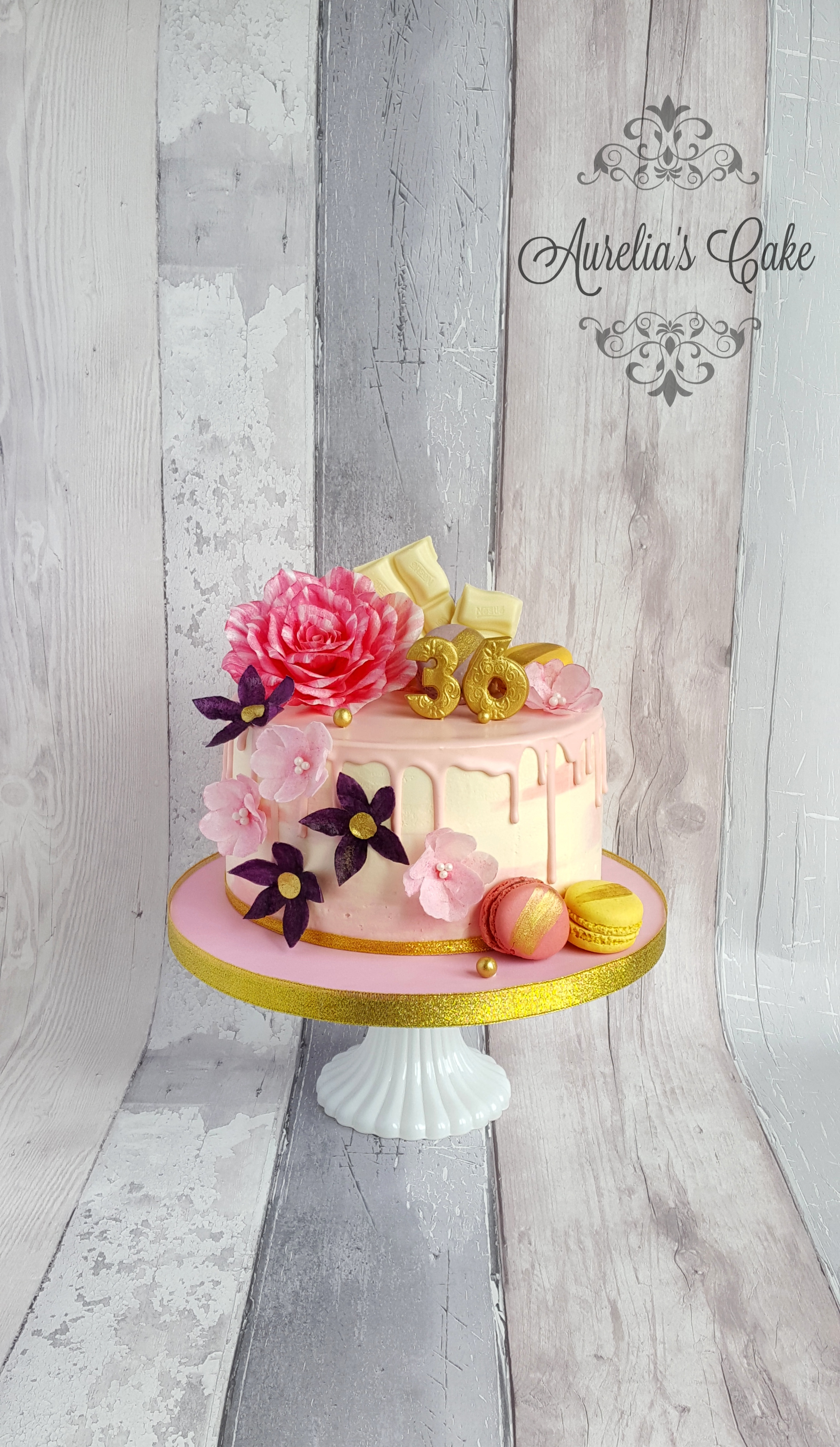 Pink Drip Cake with Flowers