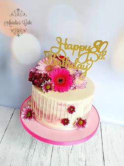 Fresh Flowers Drip Cake