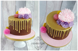Gold drip/wafer paper flowers cake