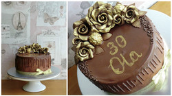 Golden roses drip cake.