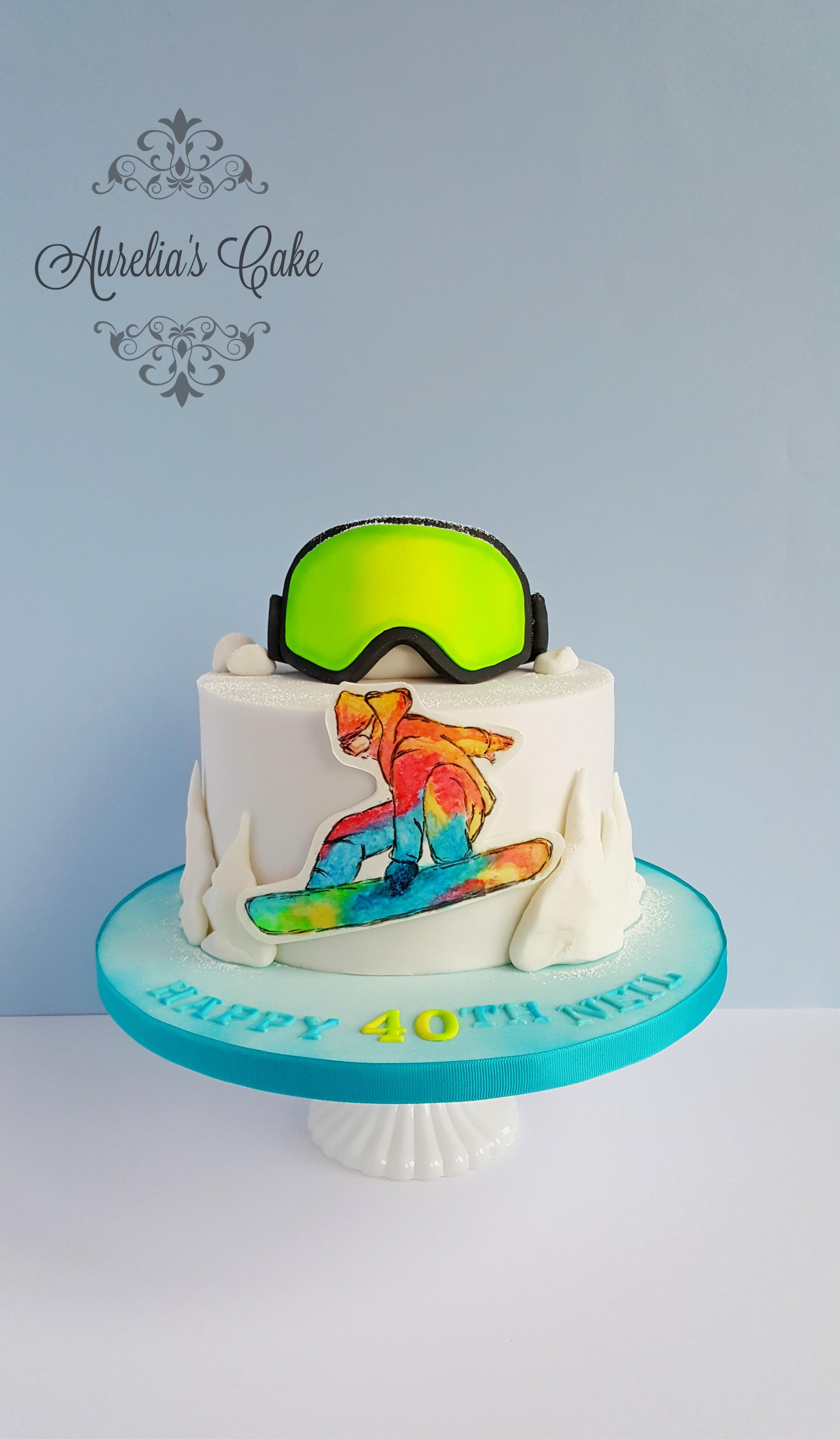 Snowboard cake_