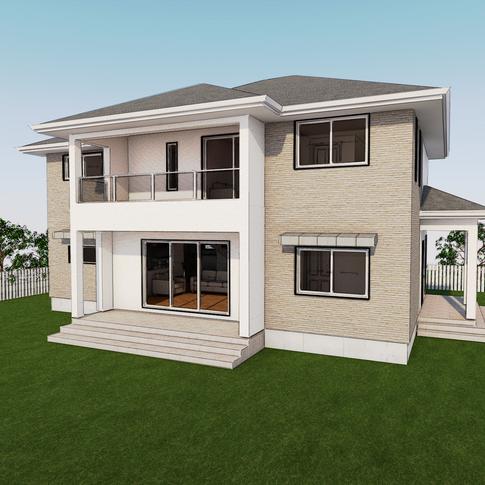 거실을 중심으로 균형을 잡고있는 측면진입주택