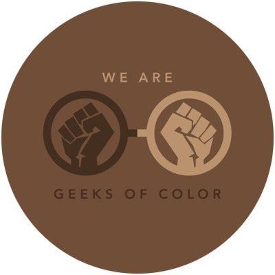 Text: We Are Geeks of Color - Brown logo with two brown fists.