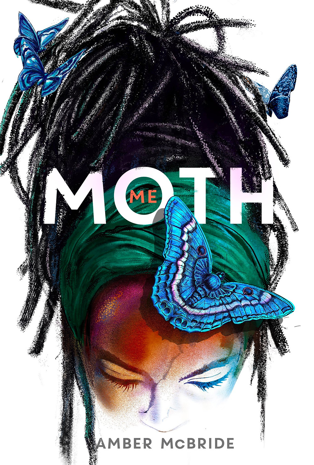 White Background. A Black woman looking down with black dreadlocks wrapped in a green scarf. 4 blue moths around her.