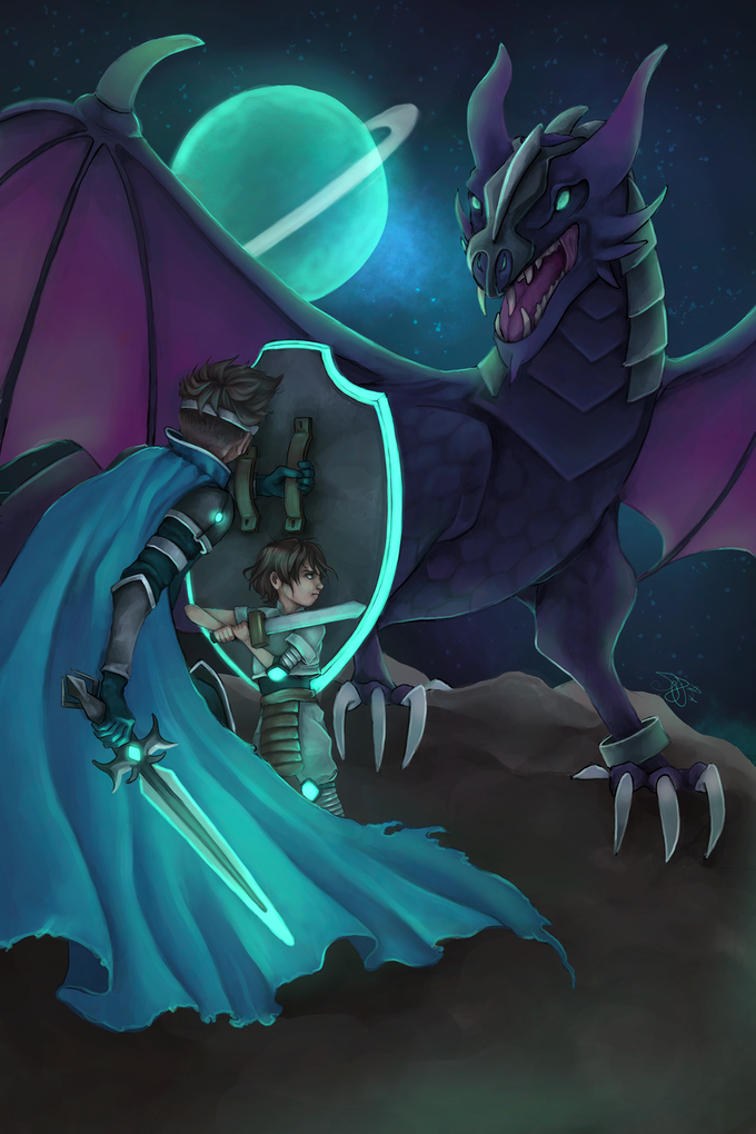 A parent and child fighting a dragon.