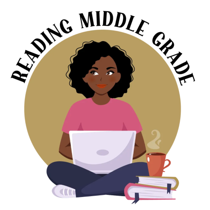 """A black girl with a computer, coffee, and books with text saying """"Reading Middle Grade"""""""