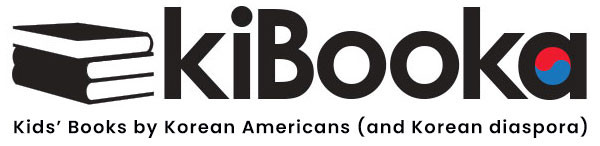 Black and white logo with books and the words: kiBooka - Kids' Books by Korean Americans (and Korean Diaspora)