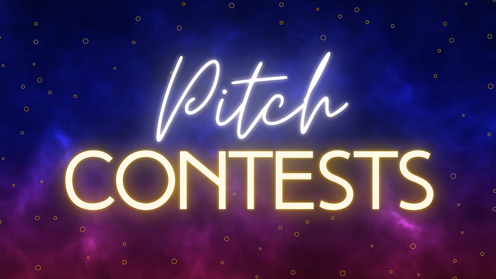 """Title card that says """"Pitch Contests"""" on a celestial blue/magenta background."""