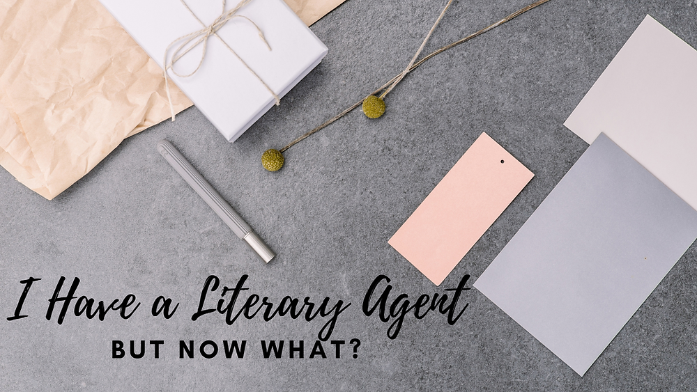 Grey and Pink pastel papers on a slate table with the text: I have a Literary Agent But Now What?