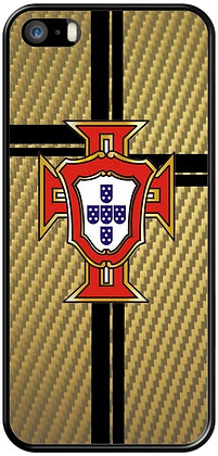 COQUE IPHONE PORTUGAL CARBONE OR