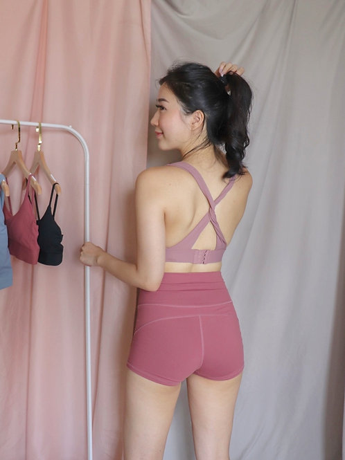 Karine Knotted Sports Bra in Dusty Pink