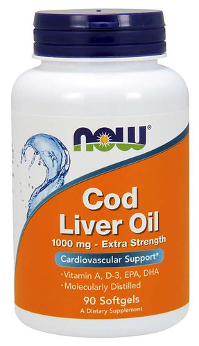 Cod Liver Oil, Extra Strength 1,000 mg Softgels