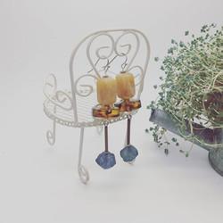 生徒さんアドバイスでルーサイトを組み合わせ__#Succulent _#Earrings_#Germany vintage_#Lucite_#Acrylic _#Beads _#Resin _#Pie
