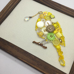 Yellow bird with buttons and beads_#button art_#vintage button_#acrylic_#beads _#cabochon _#freshwat