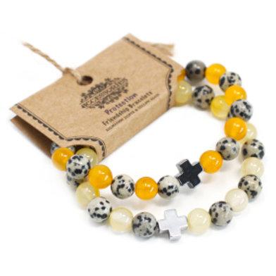 Set of 2 Gemstones Friendship Bracelets - Protection - Dalmatian Jasper & Yellow