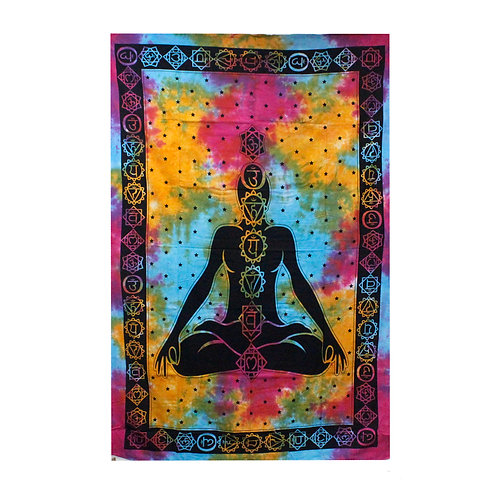 Double Cotton Bedspread + Wall Hanging - Chakra Buddha