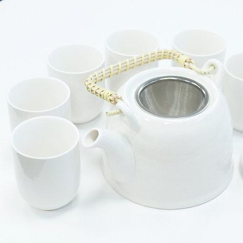 Herbal Teapot Set - Classic White