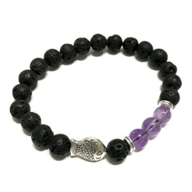Lava Stone Bracelet - Fish Amethyst