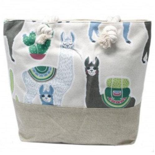 Rope Handle Bag - Llamas