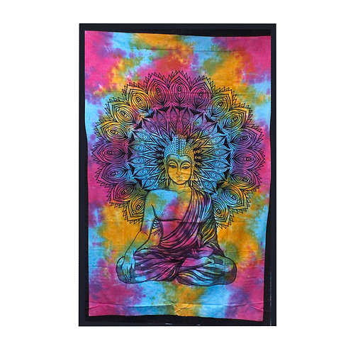 Single Cotton Bedspread + Wall Hanging -  Peaceful Buddha