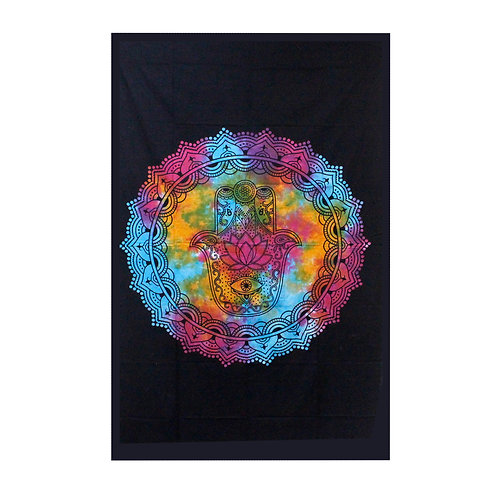 Double Cotton Bedspread + Wall Hanging - Black Hamsa