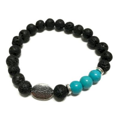 Lava Stone Bracelet - Leaf Turquoise