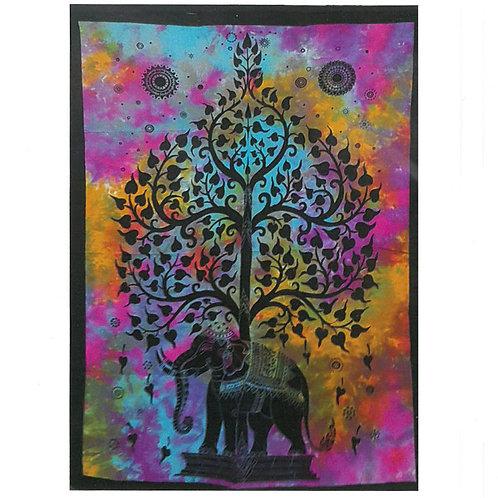 Cotton Wall Art - Elephant Tree