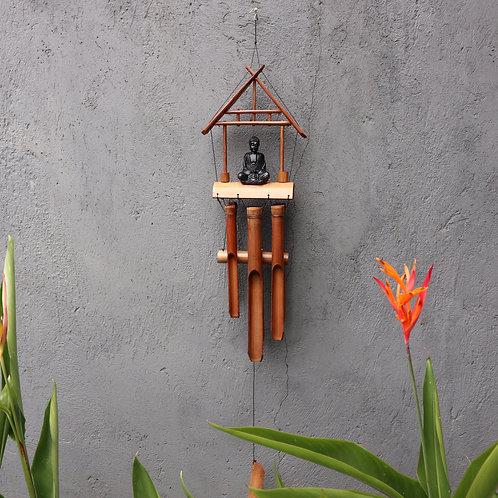Bamboo Windchime - Natural finish - Black Buddha 6 Tubes