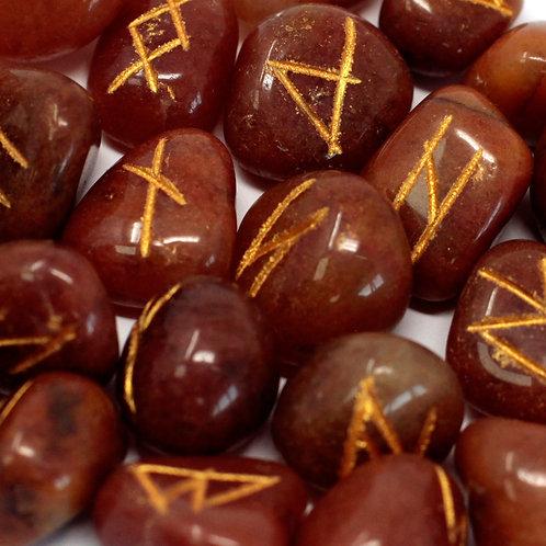 Runes Stone Set in Pouch- Red Aventurine