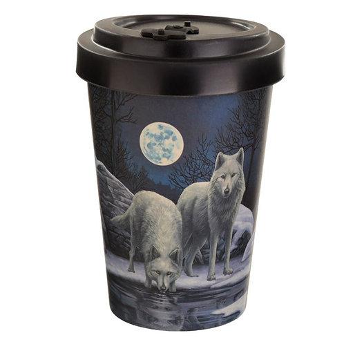 ECO Warriors of Winter Wolf Reusable Screw Bamboo Composite Travel MUG